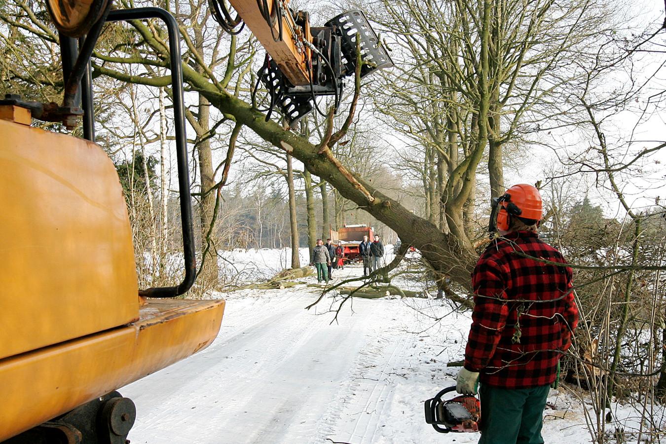 Buurtbewoners van de Dwarsdijk in Laren kapten en snoeiden zelf het groen langs de weg. De gemeente Lochem onderhield de bomen en bosjes niet vanwege bezuinigingen . Archieffoto Jan Houwers