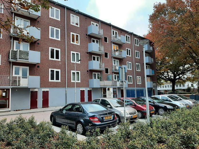 Acht parkeerplekken voor deze flat in de Generaal Smutslaan. Dat zijn er veel te weinig, vinden bewoners.