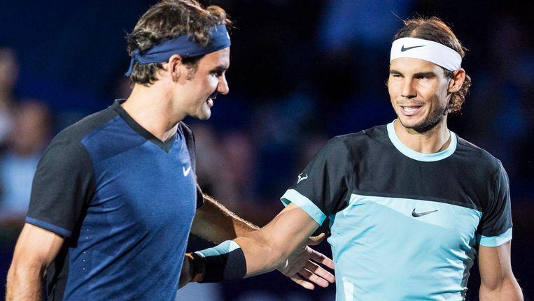 Roger Federer en Rafael Nadal in 2015. Beeld null