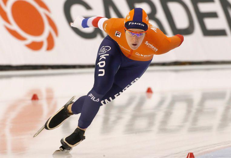 Ireen Wüst, hier in actie in Salt Lake City. Op haar 33e is ze weer wereldkampioen geworden. Beeld EPA