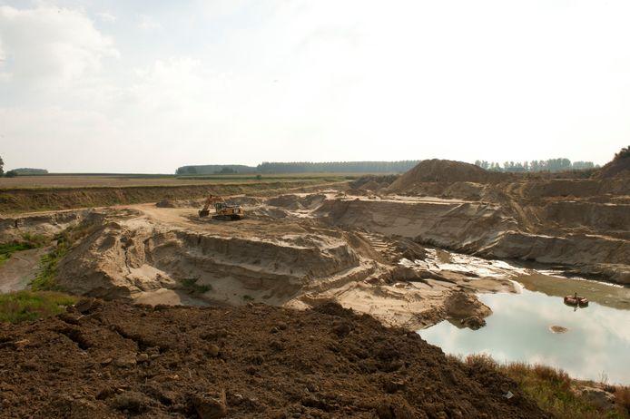 De steengroeves van Balegem waar zand en steen wordt gewonnen.