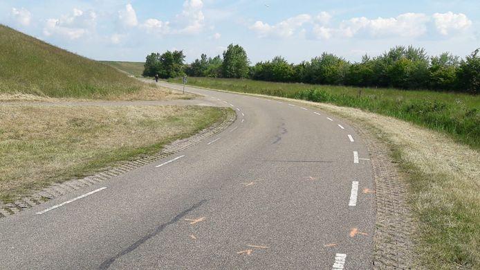 De Huissenpoldersweg tussen Terneuzen en buurtschap Griete, waar de jongen werd gevonden.