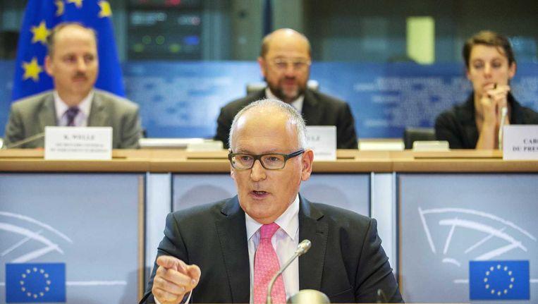 Minister van buitenlandse zaken Frans Timmermans tijdens zijn hoorzitting in het Europees Parlement. Beeld anp