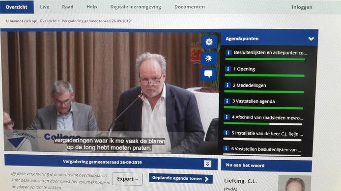 Terneuzense gemeenteraad 26 september dit jaar als eerste ondertiteld, met afscheid nemend raadslid Cees Liefting.