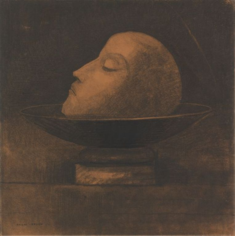 Odilon Redon, Tête de martyr sur une coupe (Saint Jean), 1877 Beeld Kröller-Müller Museum