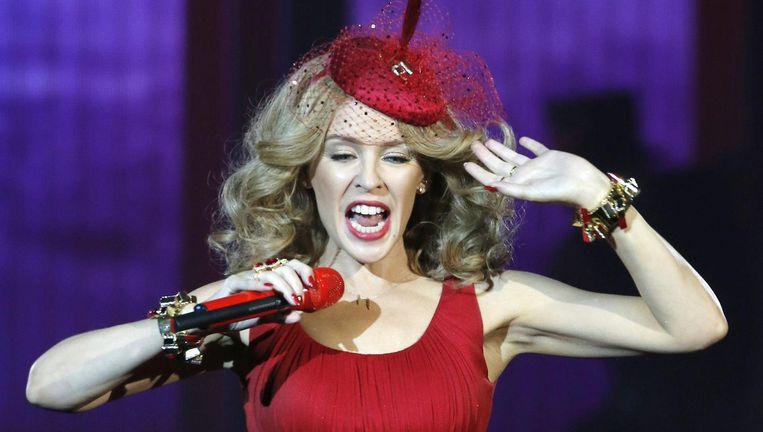 Kylie Minogue tijdens een optreden in Madrid, 2014. Beeld epa