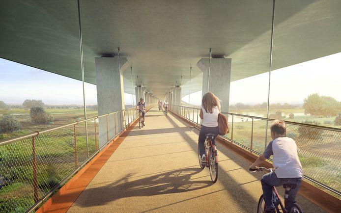 Artist's impression van het fietspad onder de brug over het Pannerdensch Kanaal.
