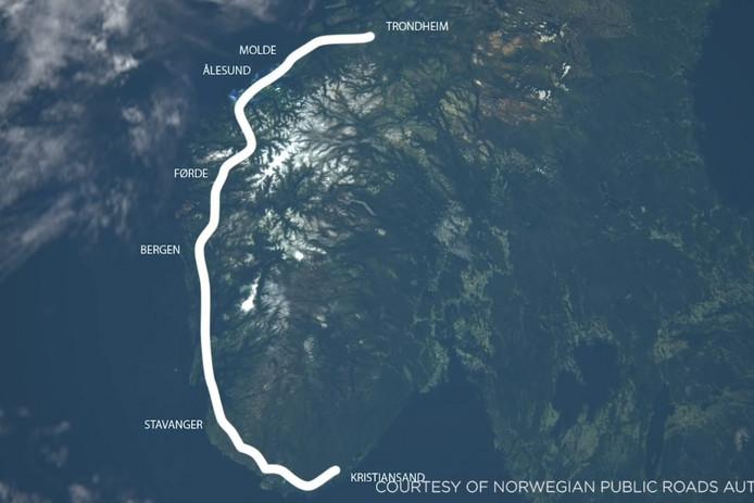 De nieuwe kustsnelweg van Noorwegen.