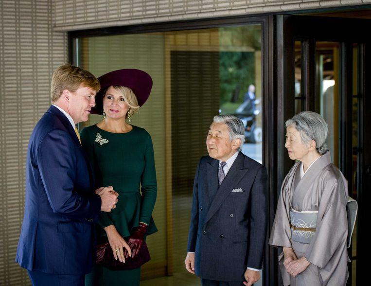 Willem-Alexander en Maxima met keizer Akihito en zijn vrouw Michiko. Beeld anp
