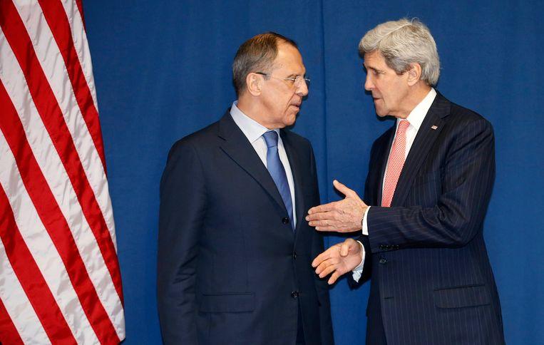 Lavrov (L) en Kerry vandaag in Rome. Beeld reuters
