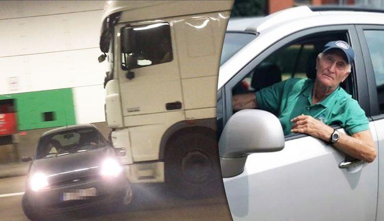 De Ford Ka werd door de vrachtwagen door de tunnel geduwd.