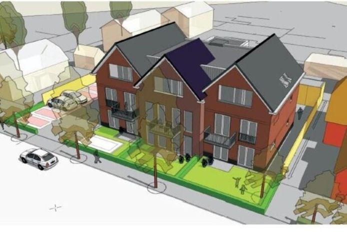 De oorspronkelijke plannen voor een appartementencomplex aan de Ebbinge Wubbenlaan in Staphorst.