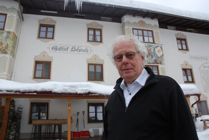 Henk Vader, al 25 jaar bestuurslid van de NSSV, de Nederlandse schaats supporters vereniging. In Inzell tijdens het WK afstanden.
