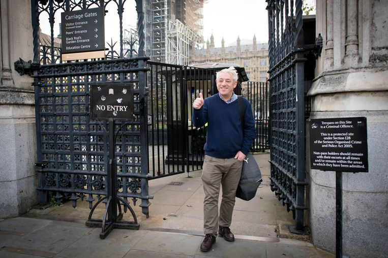 John Bercow arriveert bij het parlement in Londen.  Beeld AP
