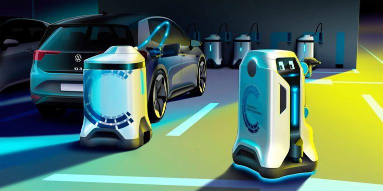 De laadrobot komt zelfstandig naar je auto.