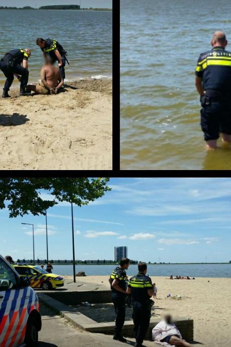 Verwarde man met mes in het water in Bergen op Zoom