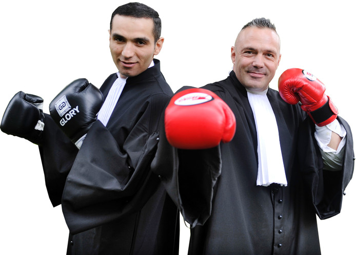 Kickboksers en strafrechtadvocaten Karapet Karapetyan en Roy van der Wal. Foto: Annina Romita