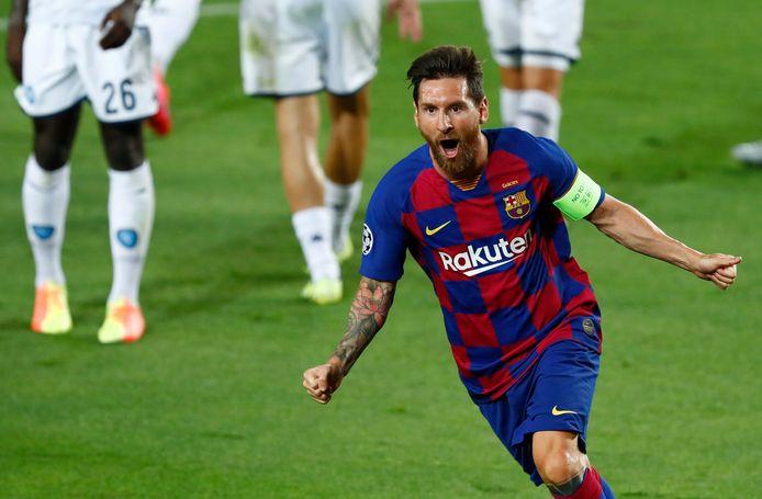 Lionel Messi viert één van zijn 634 (!) goals voor Barça.