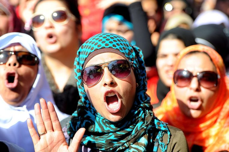 Vrouwen op het Tahrirplein Beeld epa