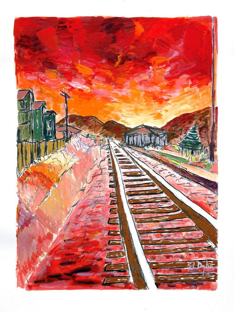 Een acrylschilderij van Bob Dylan, getiteld Train Tracks Beeld reuters