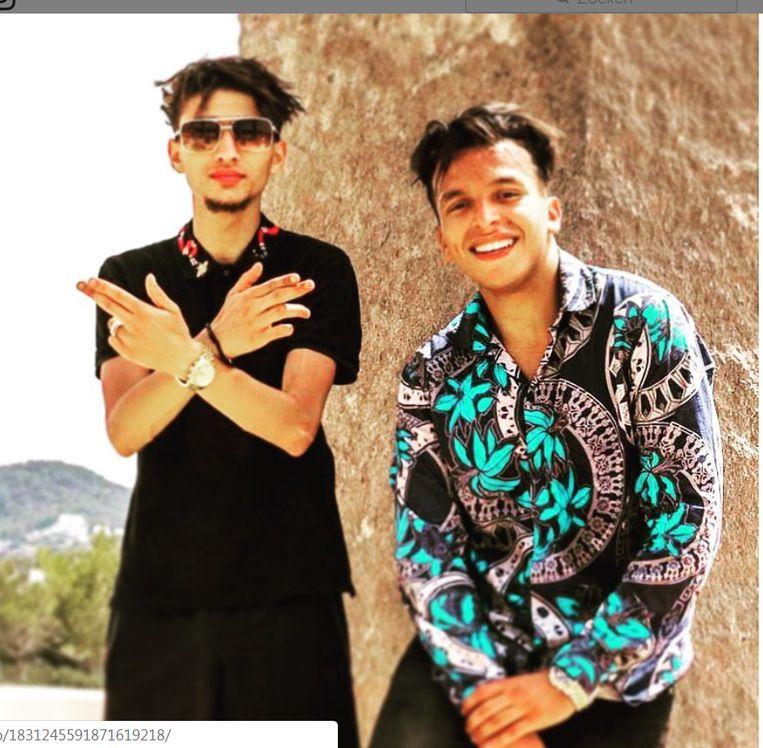 Brothers in crime en in rhymes: Bilal 'Moreno' Azzouzi (l.) en Soufiane Eddyani trekken naar Ibiza. Beeld rr