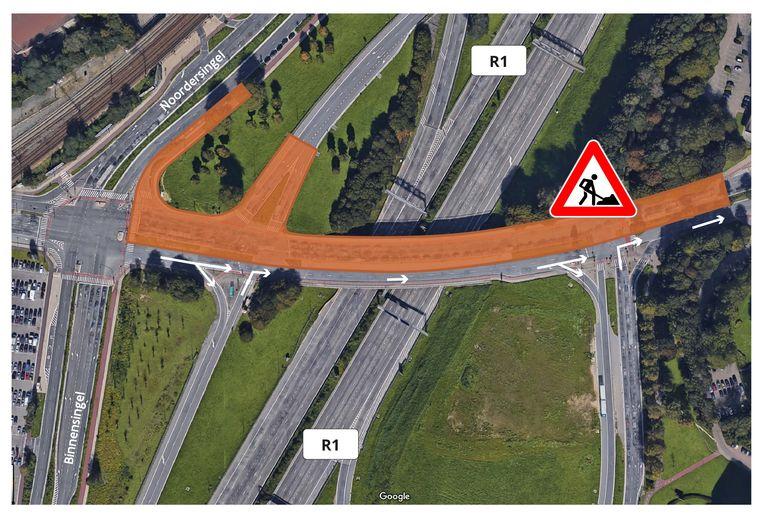 De afrit Borgerhout komende van het noorden zal tot eind augustus afgesloten worden, net als de brug van de Luitenant Lippenslaan stadinwaarts.