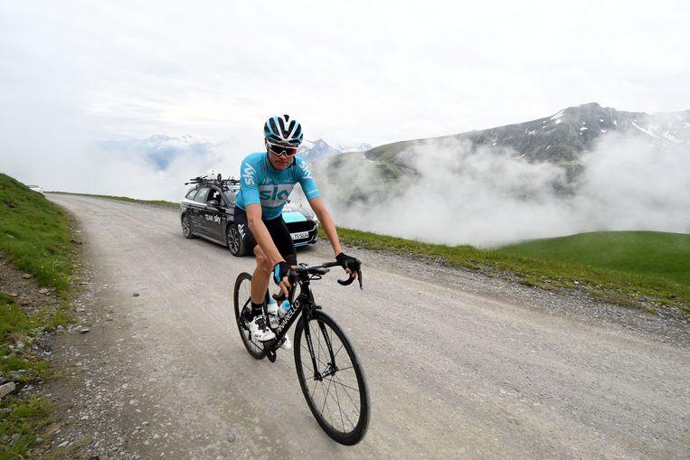 Ter voorbereiding op de Tour de France, trainde Chris Froome vorige maand in de Franse Pyreneeën. Beeld AFP