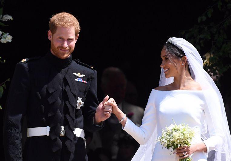 Prins Harry en Meghan Markle tijdens hun huwelijk op 19 mei dit jaar.