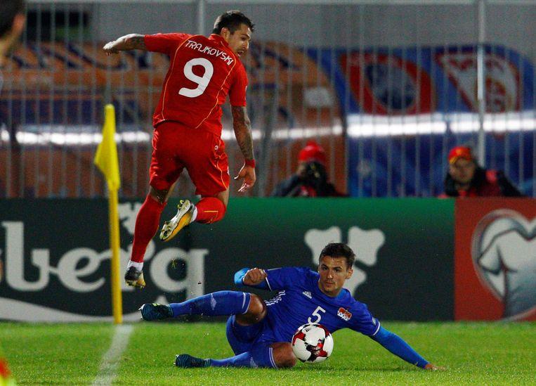Trajkovski (l) scoorde voor Macedonië