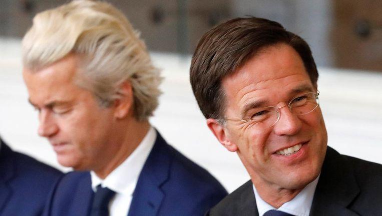 De altijd goedlachse Mark Rutte en Geert Wilders, de topstukken van het rechtse blok Beeld reuters