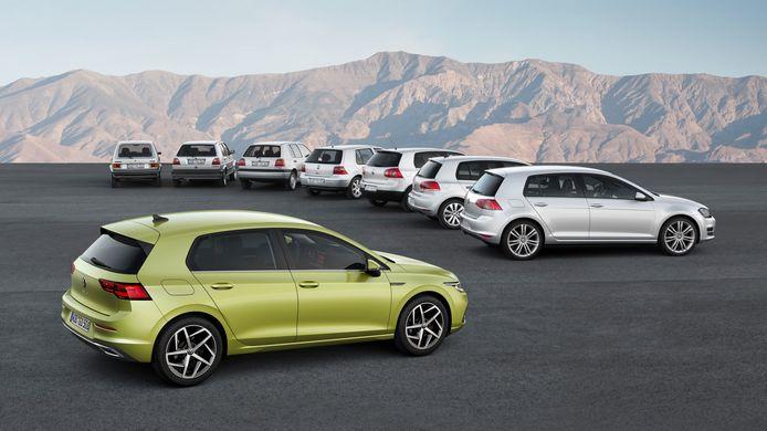 De Volkswagen Golf 8 met zijn 7 voorgangers