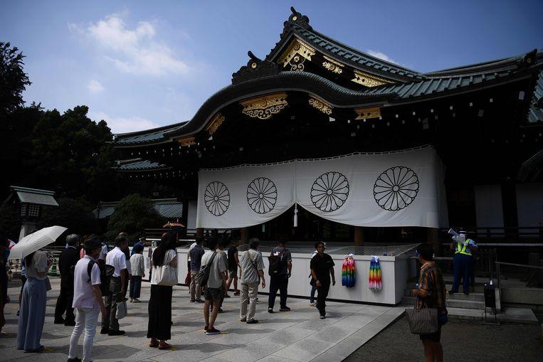 De herdenking bij de omstreden Yasukuni-tempel zaterdag in Tokio. Beeld AFP