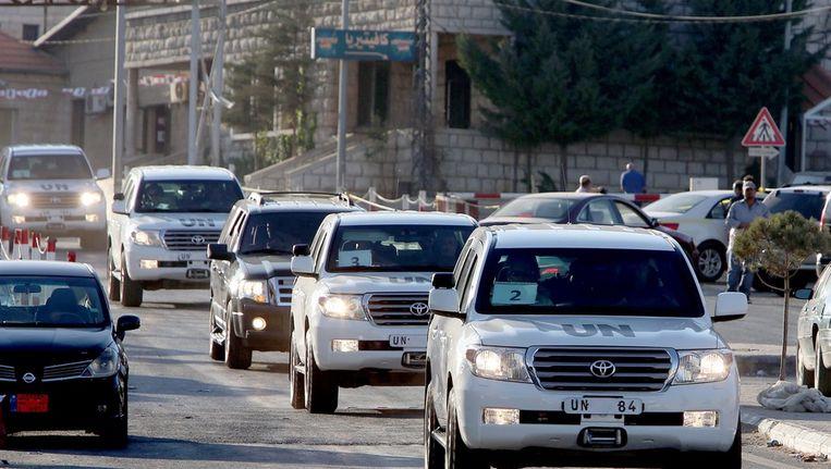 VN-konvooi eerder vandaag in Libanon. Beeld epa