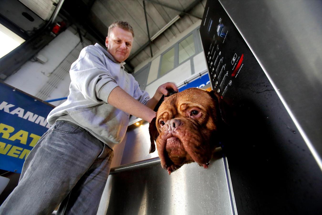Hond Droef krijgt een wasbeurt.