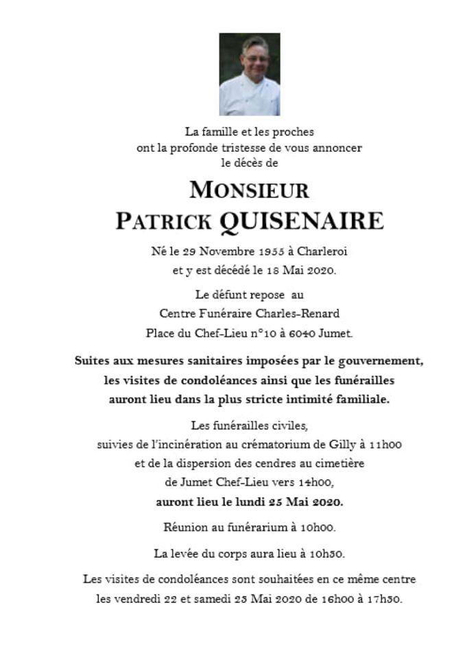 Faire-part du décès de Patrick Quisenaire