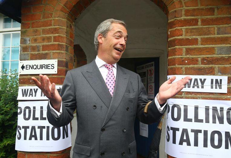 Nigel Farage bracht zijn stem uit in Biggin Hill. Beeld AP