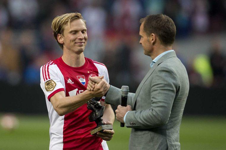 Ajacied Christian Poulsen nam afscheid tegen NEC. Beeld anp