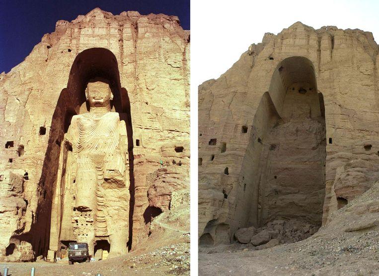 Een van de Boeddha's van Bamyan, voor en na de vernietiging in 2001. Beeld EPA