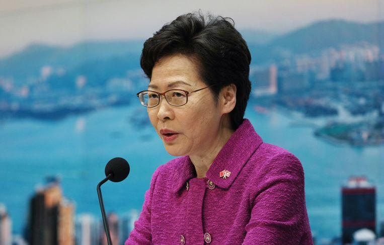 Carrie Lam, leider van de stadstaat Hongkong. Beeld EPA