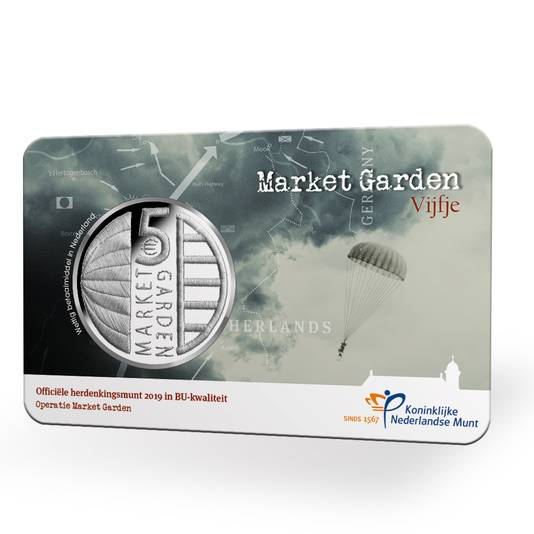 Een 'Coincard' met het Market Garden Vijfje