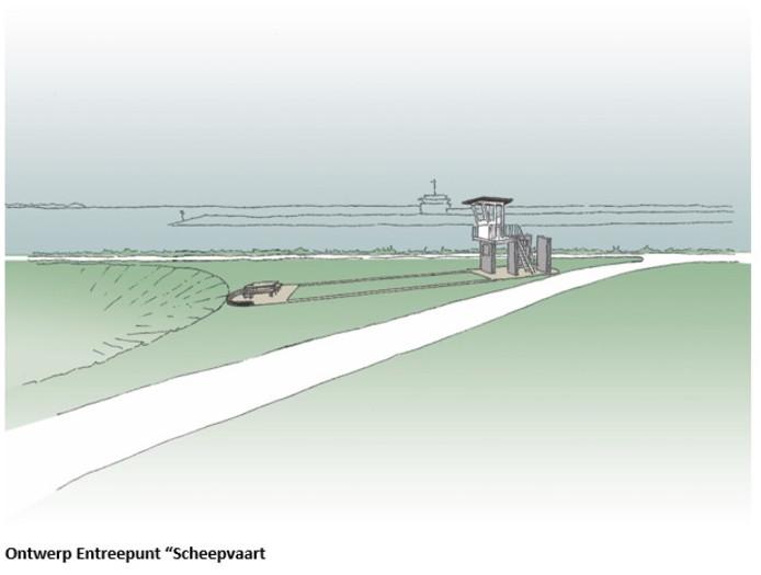 Het nieuwe entreepunt Nationaal Park Oosterschelde in Wemeldinge. Na de duikbril volgt nu het schip.