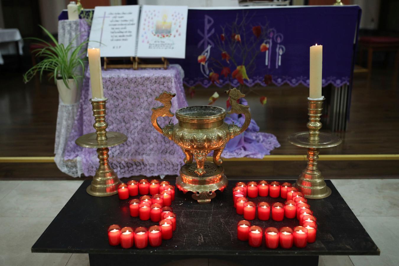 Herdenkingsplekje voor de slachtoffers in een kerk in Londen.