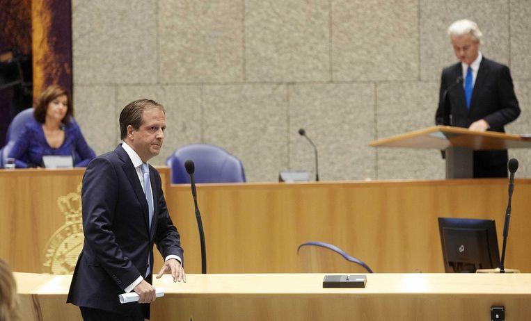 Alexander Pechtold tijdens de confrontatie met Geert Wilders Beeld anp