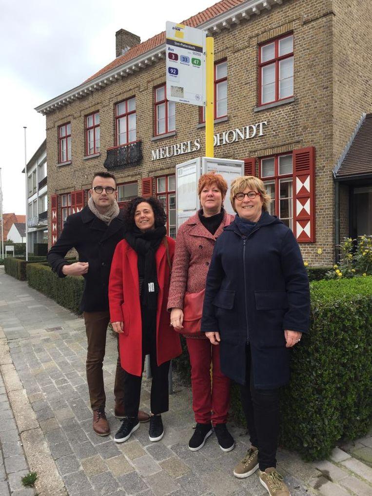 De sp.a-kandidaten met schepen Mathijs Goderis, Annick Lambrecht, Barbara Roose en Mieke Hoste.