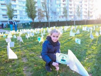 """Honderden buurtbewoners planten vlag voor behoud park: """"Waarom geen leegstaande gebouwen gebruiken voor bouw school?"""""""