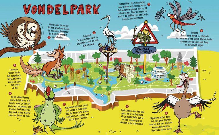 De kaart van het Vondelpark uit Amsterdamse beestenboel van Liedewij Loorbach en Evan van Aalst Beeld Eva van Aalst