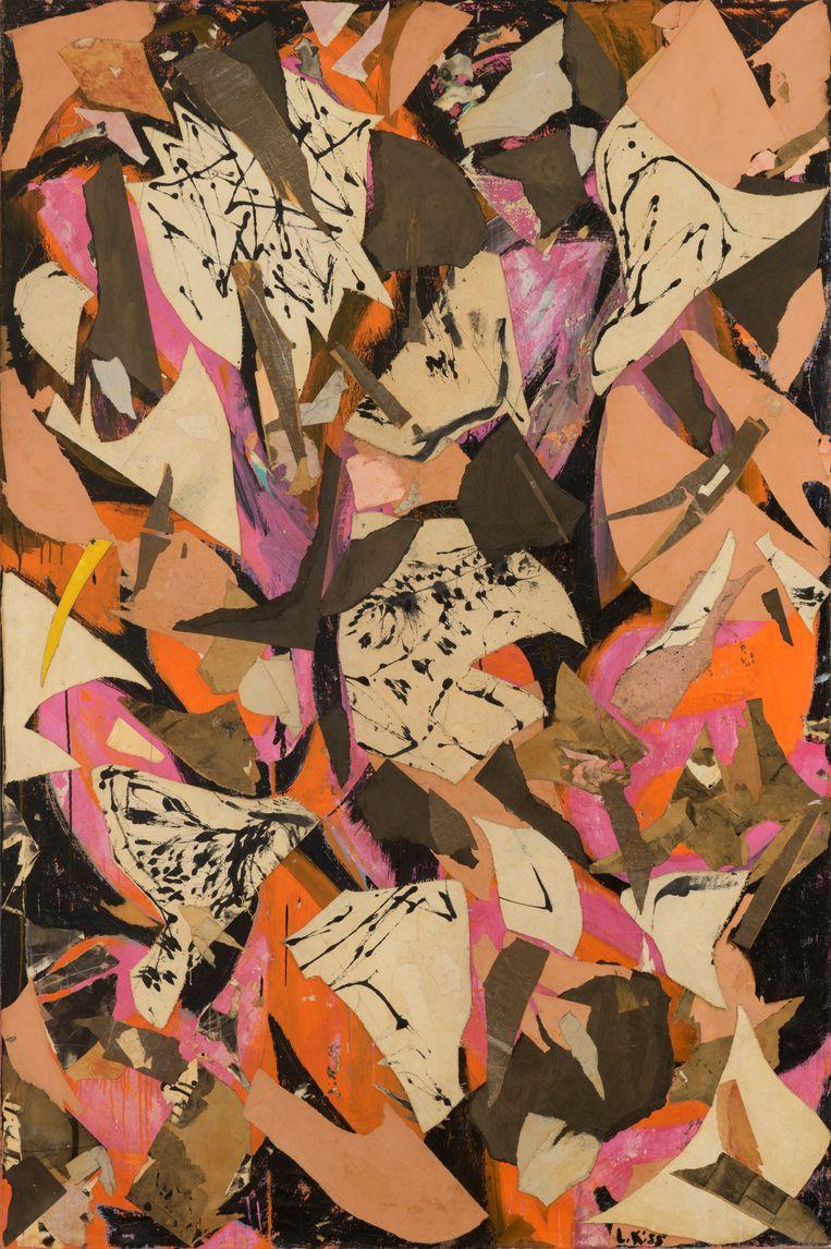 Bald Eagle, Lee Krasner, 1995, collage, onder meer van gescheurde spettertekeningen van Pollock en eigen verscheurd werk. Beeld The Pollock-Krasner Foundation