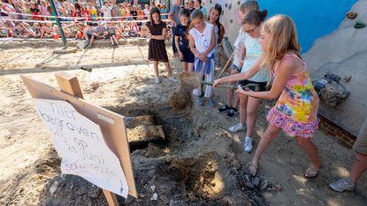 Leerlingen Krinkel begraven schat net voor bouwwerken