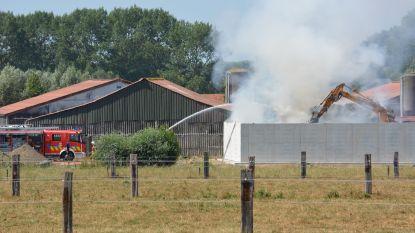 Drie brandweerposten bestrijden strobrand op landbouwbedrijf in Oostkamp