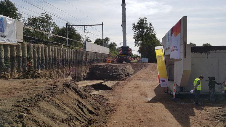 Werken aan de fietstunnel ter hoogte van Koulaak.